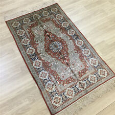 Yilong 2.5'x4' Bedroom Hand Knotted Carpet Geometric Silk Handmade Area Rug 040C