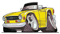 Triumph TR6 Yellow Cartoon car T-shirt available in sizes S-3XL