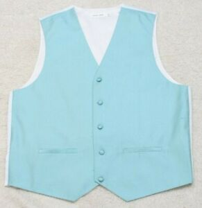 Pierre Cardin Blue & White Medium Suit Vest Mens Mans Sleeveless Polyester Lined