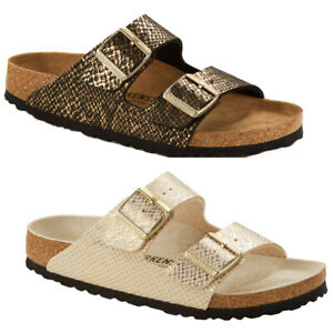 BIRKENSTOCK Women's Sandals Arizona Microfibre Footbed Narrow Shiny Python