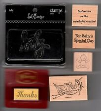 Lot of 6 Baby Stamps Scrapbooking Rubber Mounted Wood Mounted Clear Stork Diaper