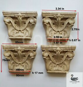 Wood Carved Capital set 4 pc Onlay Applique Sticker Home Decor Furniture Craft