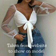 Brand New Femme Luxe White Tie Front Organza Mesh Sleeve Crop Top Size 6