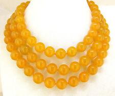 "Natural 10mm yellow jade jasper round gemstone beads necklace 52"" AAA"