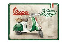 "Vespa Relief-Blechschild "" Italiano Legend "" - 40x30cm - Retro V50 Smalto"