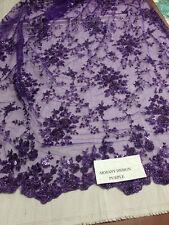 Super bridal wedding heavy beaded small flower mesh lace fabric purple.
