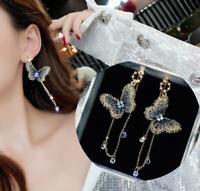 Fashion Embroidery Butterfly Earrings Long Tassel Crystal Pearl Ear Stud Dangle