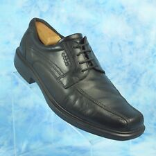 ECCO Helsinki Mens 10 10.5 EUR 44 Black Leather Oxfords Bike Toe Shoes