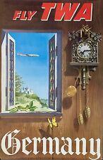 ORIGINAL Vintage FLY TWA Airline Travel Poster GERMANY Lockheed Constellation
