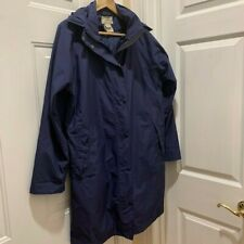 LL Bean Raincoat Jacket, Women's Size M, Navy, Wool Removable Zip out Lining