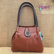 Ladies Tan Brown Faux Leather Big Button Fashion Shoulder Bag Handbag