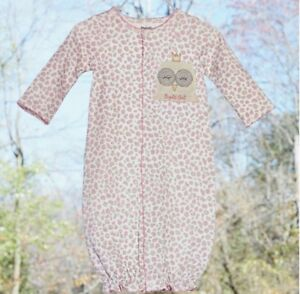 Mud Pie Infant Baby Girls Pink Floral Night Owl Convertible Gown Sleeper 3-6M