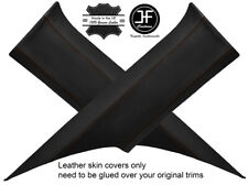BROWN STITCH 2X REAR C PILLAR REAL LEATHER COVERS FITS FORD MUSTANG COUPE 15-18
