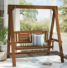Outdoor Wood Hanging Porch Swing Bench with Stand Frame Patio Garden Seating