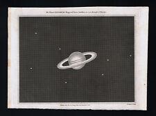 1809 Astronomy Print Saturn Rings & Moons Solar System Planet Telescope