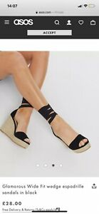 Glamorous wide fit wedge espadrille sandals in black size 7 eu 40 Asos