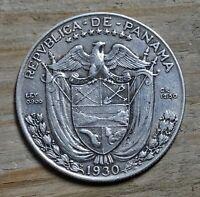 Panama 1/2 Balboa Coin~1930 Vasco de Balboa~.900 Silver 12.5g~KM#12.1~VF~#1114