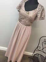 Little Mistress Chiffon Maxi Dress With Sequin Top And Fluted RRP £75 (AS-14/28)
