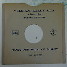 "78rpm 10"" card gramophone record sleeve / cover WILLIAM KELLY barrow #1"