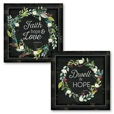 "Succulent Wreath 'Faith, Hope & Love' and 'Dwell in Hope""; 2-12x12"" Paper Poster"