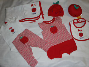 Gymboree 0-3 Month Apple ABC Rattle Blanket Bib Romper Bodysuit Pants NB Hat Set