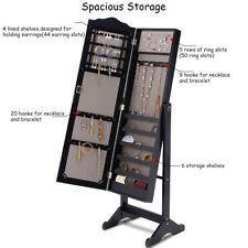 Tilt Dressing Mirror Jewelry Cabinet Armoire Organizer Storage Box Floor Stand