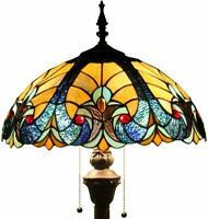Floor Lamp with Blue and Yellow Stained Glass Lampshade