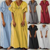 Summer Women Baggy Swing Beach Dress Maxi Holiday Puff Sleeve Long Dress UK 8-26