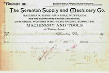 New listing Antique The Scranton Supply & Machinery Co - Scranton Pa 1895 Billhead