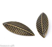 500 Bronze Tone Leaf Charm Pendants 21x7mm