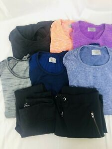 Lot of 8 pieces all ATHLETA size small black leggings shirt yoga top skirt