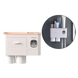 Wall Mount Toothbrush Holder Bathroom Toiletries Storage Rack Brush Slots