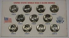 Gorgeous CH BU Wartime Silver Jefferson Nickel Set of All 11 Coins in Holder g31