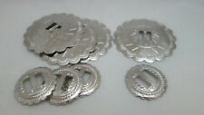 """Silver Arrowhead Slotted Concho Pair of 2 Native Western 2"""" Nickel"""