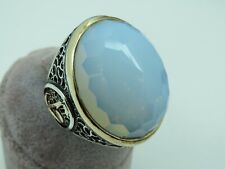Turkish Handmade Jewelry 925 Sterling Silver Moonstone Men Ring Sz 12