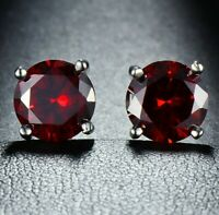 2.00 Ct Round Red Garnet 18K White Gold Plated Stud Earrings 6mm