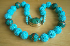 """ONE OF KIND Chinese Tibet Large Carved Turquoise Bead Necklace 28 1/4"""""""