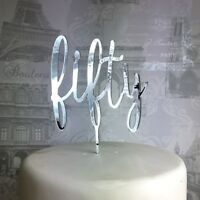 50th Birthday cake topper 50 fifty acrylic cake topper 30 40 60 70 80 90 glitter