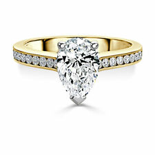 2.40 Ct Pear Solitaire Diamond Engagement Ring 14K Solid Yellow Gold Size M N