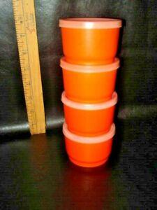 Vintage Tupperware Orange Snack Cups #1229 with #297 Sheer Seals ~ Set of 4