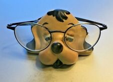 Vintage Ceramic Hand Painted Puppy Dog Head Eyeglasses Holder Great Condition
