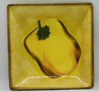 "Clay Art Terra Toscana 8.5"" Square Plate Yellow Pepper Design"