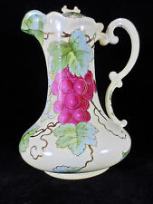 Vienna Austria Hand Painted Pitcher Ewer Grapes Leaves Gold Leaf Trim