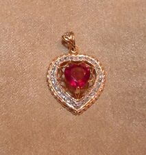 10KT 2.00 CTW  DESIGNER MAHALEO RUBY &  ZIRCON ROSE GOLD HEART PENDANT NECKLACE