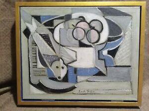 Mid Century Cubist Still Life, Oil, Signed Emil Filla