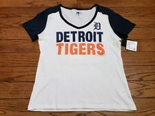 New Era Womens Large White Detroit Tigers V-Neck Short Sleeve T-Shirt New  9a288ff8016