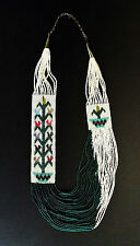 Cream and Green Beaded Corn Necklace with Earrings - Navajo Handmade