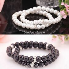 2pcs White/Black Glass Pearl Ball Beaded Crystal Stretch Bracelet Jewelry