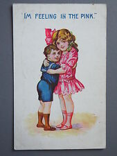 R&L Postcard: Comic, Childrens, I'm Feeling in the Pink,1918 Cuddling Girl