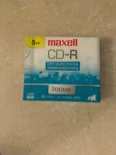 Maxell CD-R 700 5PK SLIM CASE 80-Min/700 MB CD-R Slim Cases UNOPENED